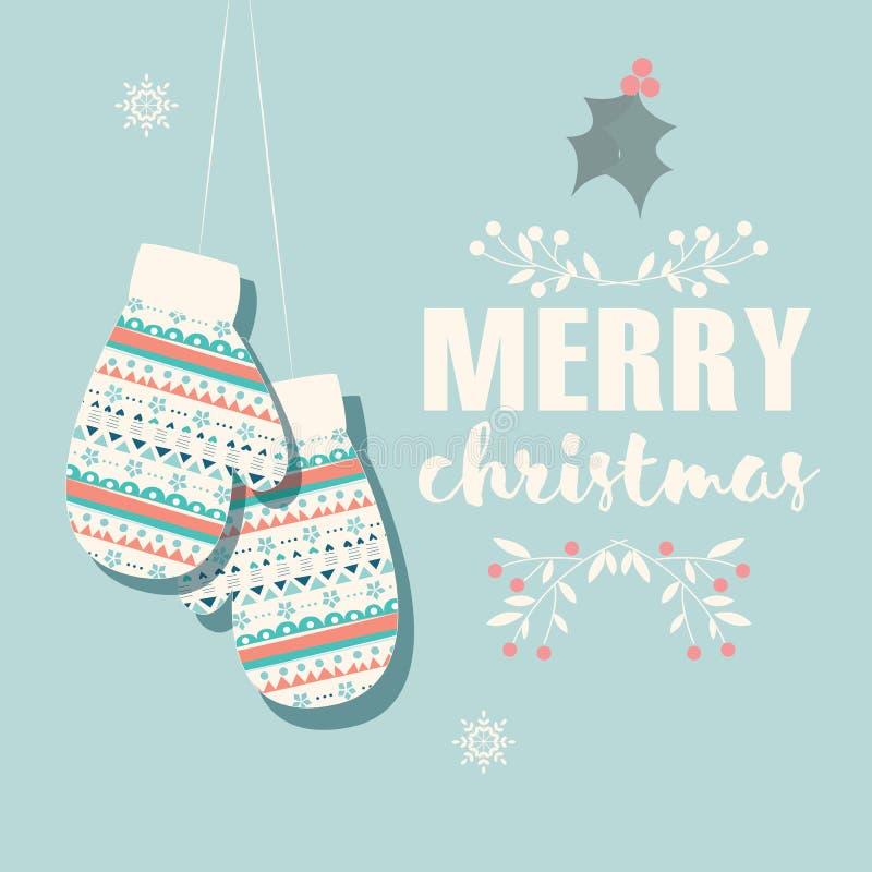 Vrolijke Kerstmisprentbriefkaar met vuisthandschoenen en decoratie royalty-vrije illustratie