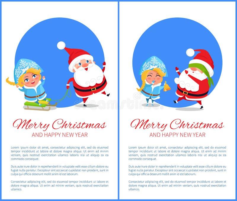 Vrolijke Kerstmisrit en Spel Vectorillustratie vector illustratie