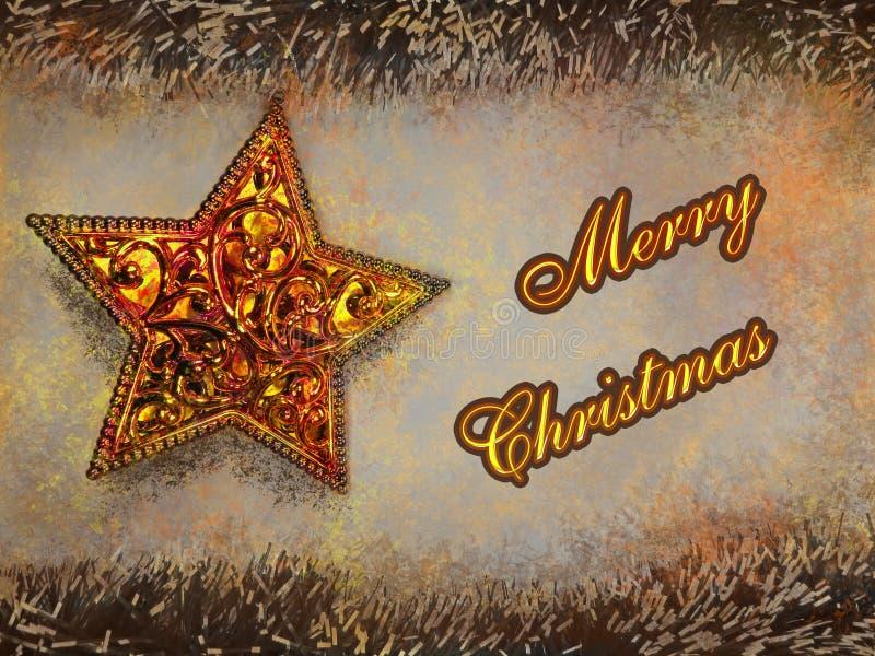 Vrolijke Kerstmistekst in gele kleur op gouden ster en slingersachtergrond stock illustratie