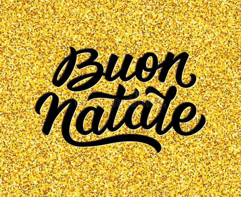 Vrolijke Kerstmistekst in het Italiaans Het kan voor prestaties van het ontwerpwerk noodzakelijk zijn stock illustratie