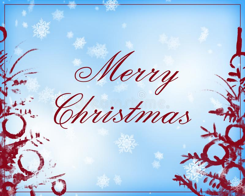 Vrolijke Kerstmistekst in lichtblauwe en donkerrode kleur vector illustratie
