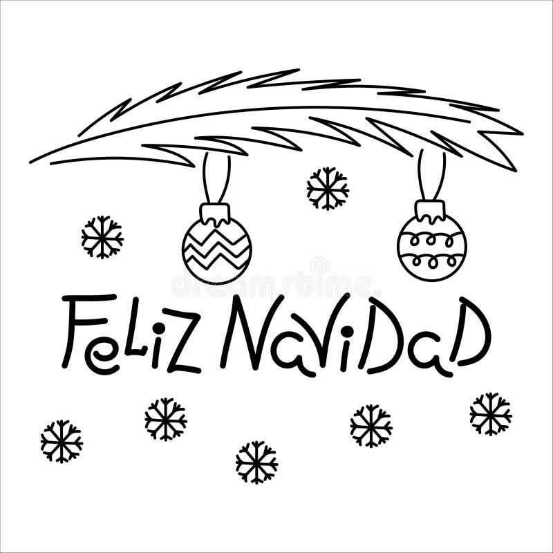 Vrolijke Kerstmisuitdrukking in het Spaans Hand-drawn inschrijving, een tak van sparren en Kerstmisballen stock illustratie