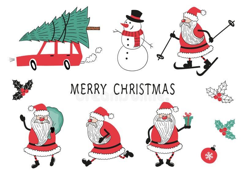 Vrolijke Kerstmisvector die met Santa Claus wordt geplaatst, snowmn, auto, boom royalty-vrije illustratie