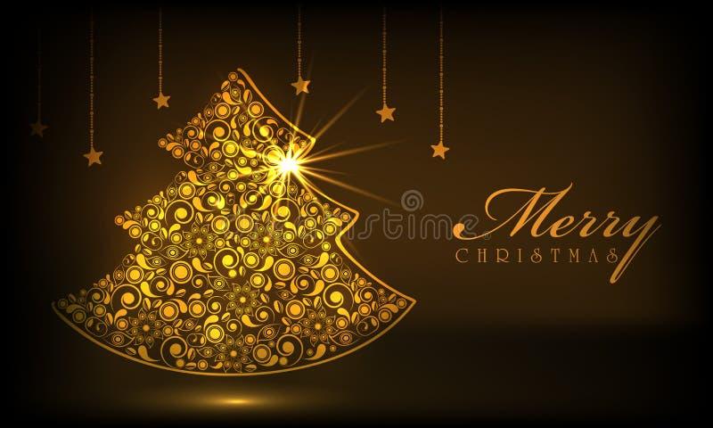 Vrolijke Kerstmisviering met Kerstmisboom royalty-vrije illustratie