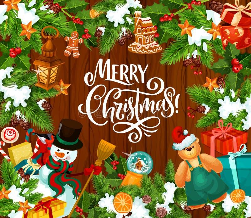 Vrolijke Kerstmisvoorwerpen en decoratie royalty-vrije illustratie