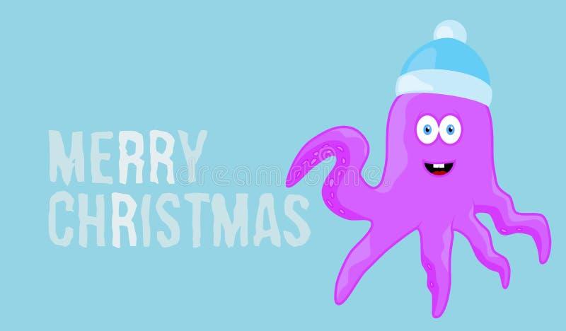 Vrolijke Kerstmiswens op blauwe kaart als achtergrond stock illustratie