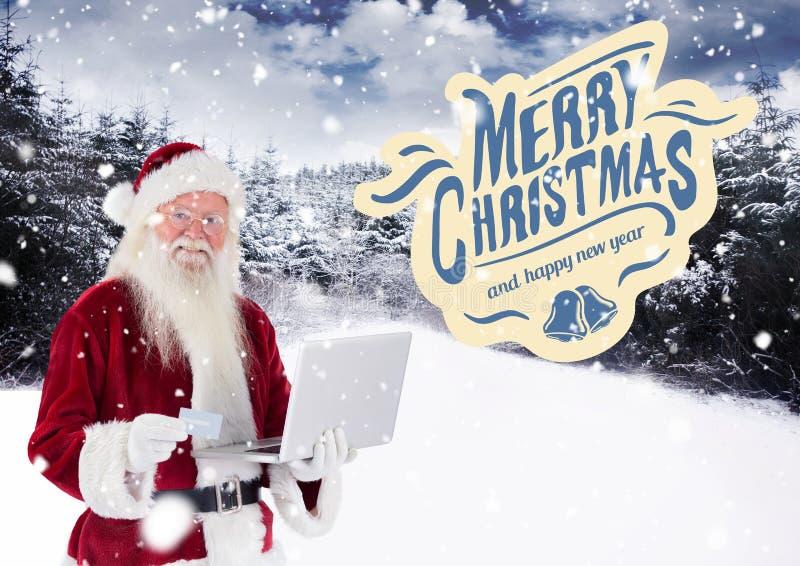 Vrolijke Kerstmiswensen met de Kerstman die online winkelen stock afbeelding
