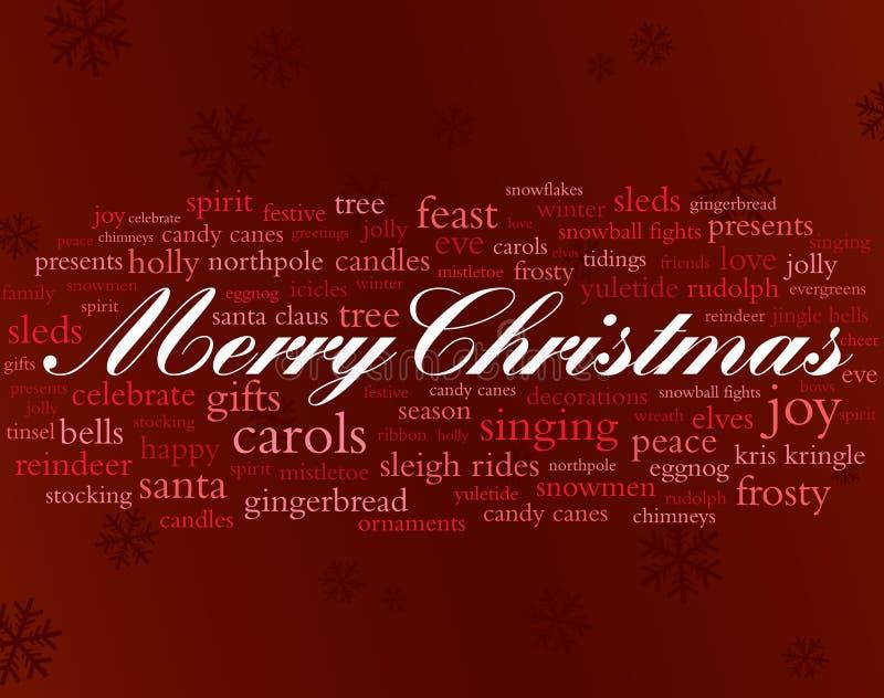 Vrolijke Kerstmiswoorden stock illustratie