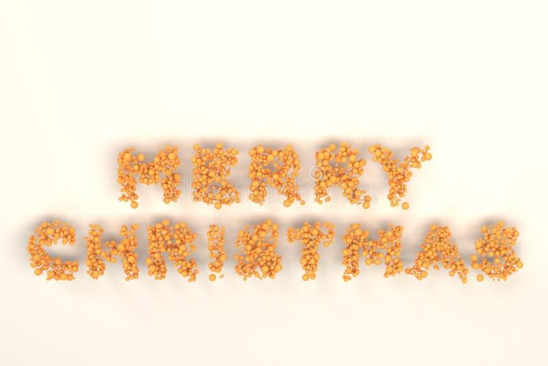 Vrolijke Kerstmiswoorden van oranje ballen op witte achtergrond royalty-vrije illustratie