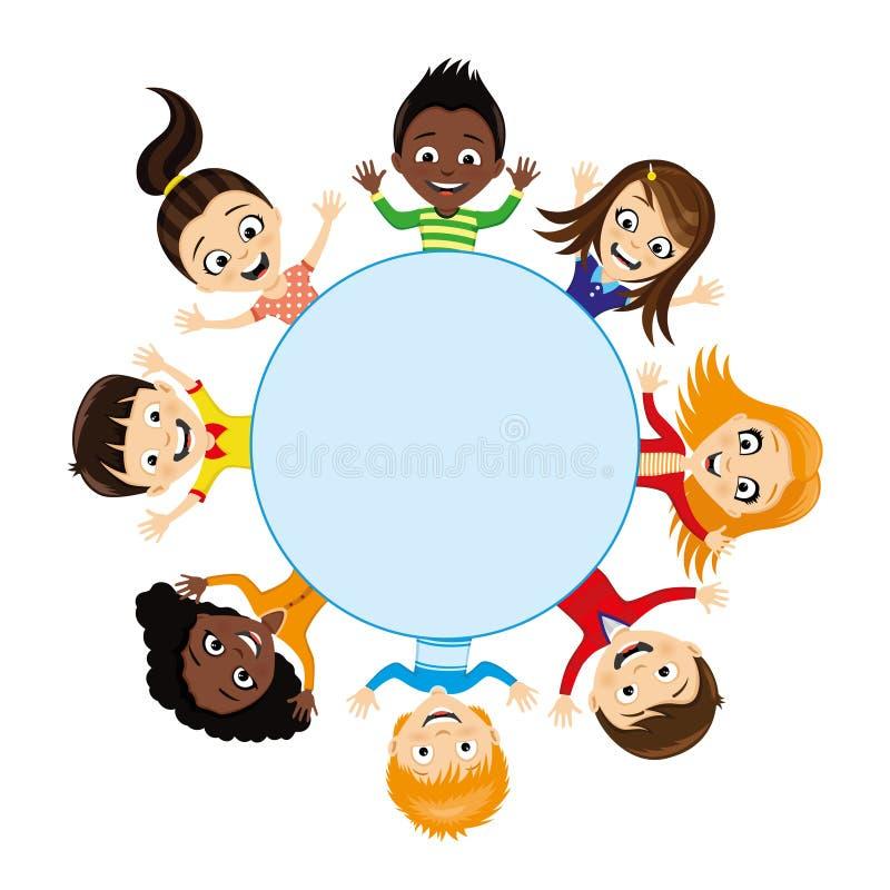 Vrolijke kinderen rond een blauwe achtergrond vector illustratie