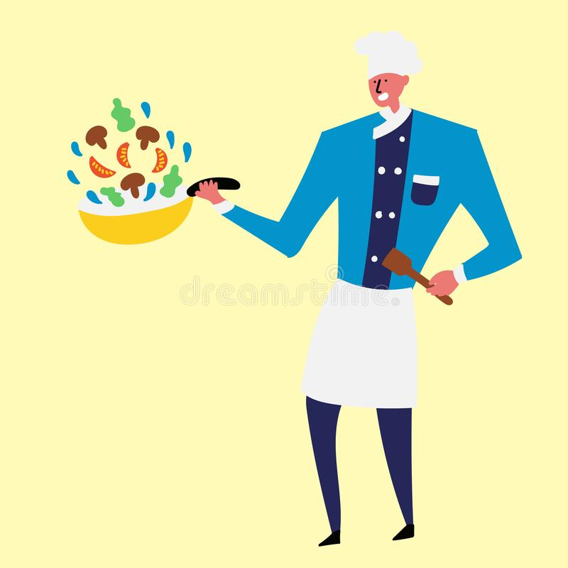 Vrolijke kok die groenten in een pan voorbereiden stock illustratie