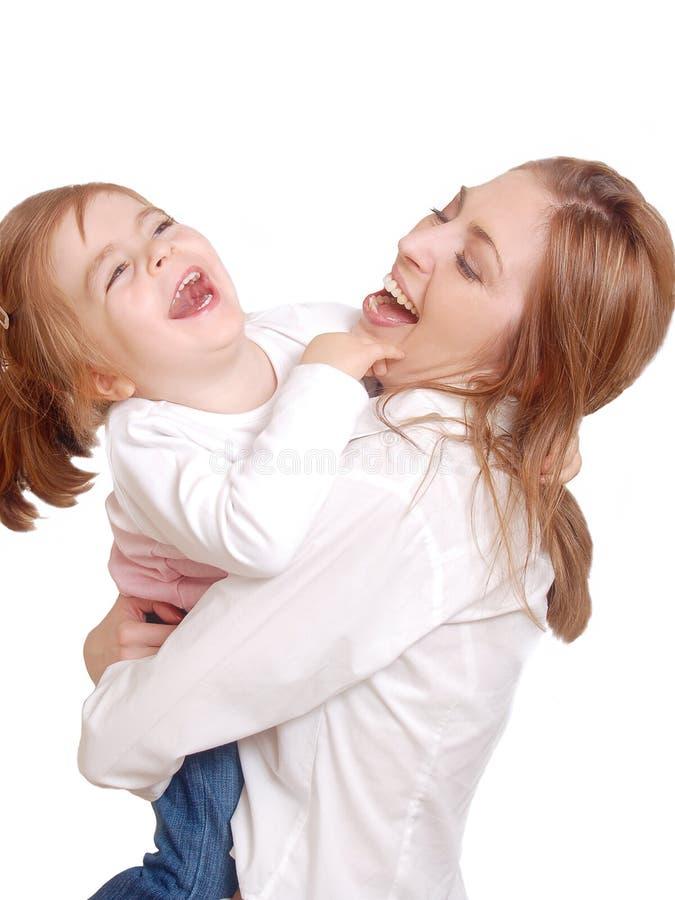 Vrolijke lach van mamma en haar kind