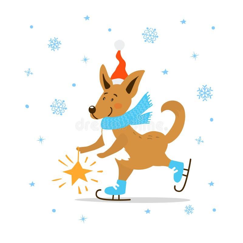 Vrolijke leuke het beeldverhaalhond van het Kerstmis gelukkige nieuwe jaar 2018 in santahoed en het ijs die van de de wintersjaal vector illustratie