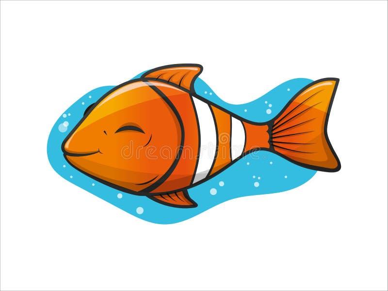 Vrolijke, leuke sinaasappel met tropische de clownvissen van het strepenaquarium royalty-vrije illustratie