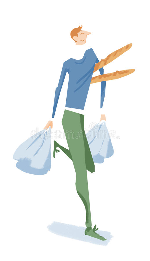 Vrolijke mens het dragen baguettes en het winkelen zakken stock afbeeldingen