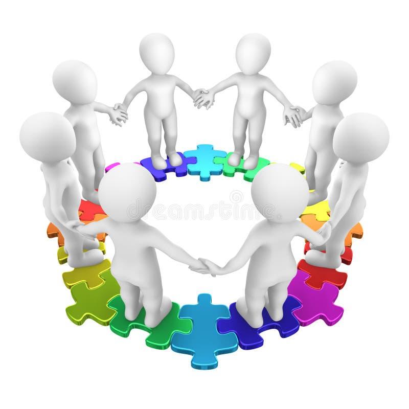 Vrolijke mensen op gekleurd cirkelraadsel royalty-vrije illustratie
