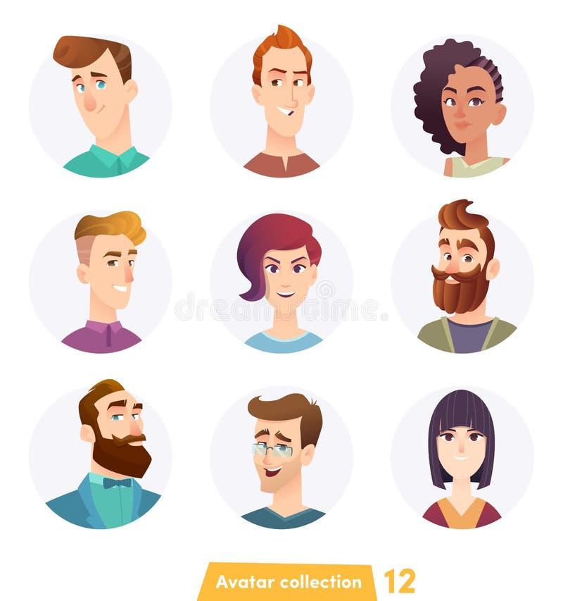 Vrolijke mensenavatar inzameling Gebruikersgezichten In moderne stijl Het vlakke ontwerp van het beeldverhaalkarakter stock illustratie