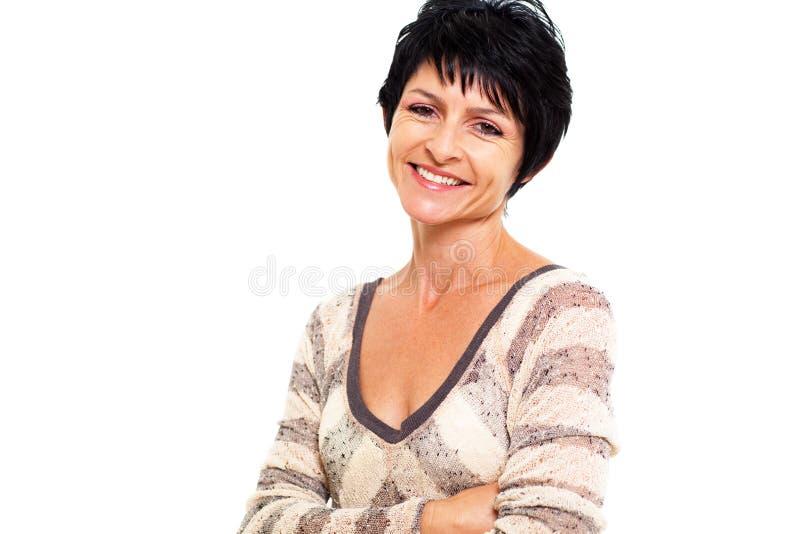 Vrolijke midden oude vrouw stock foto's