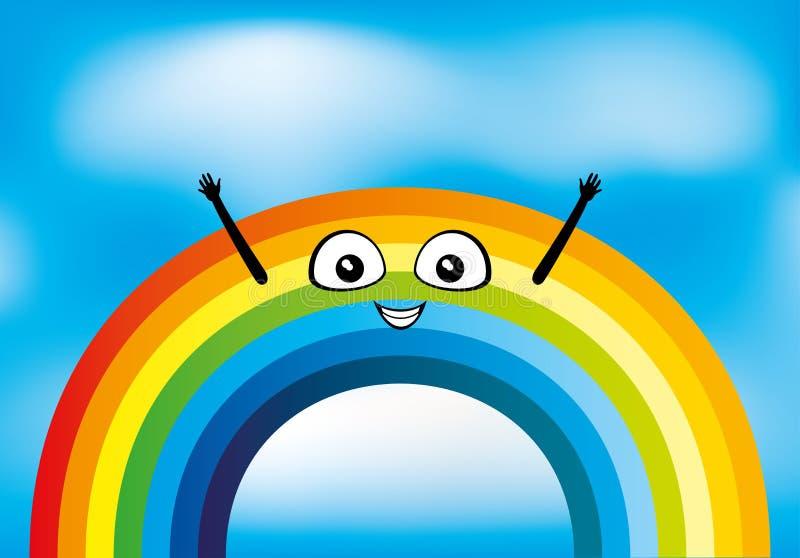 Vrolijke mooie regenboog stock illustratie
