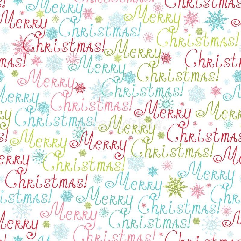 Vrolijke Naadloze het Patroonachtergrond van de Kerstmistekst vector illustratie
