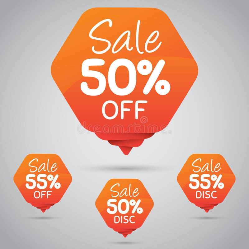 Vrolijke Oranje Markering voor Marketing Kleinhandelselementenontwerp 50% 85% Verkoop, Schijf, weg  vector illustratie