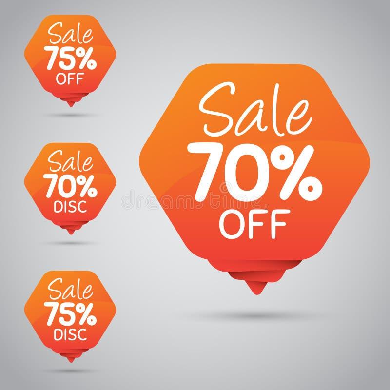 Vrolijke Oranje Markering voor Marketing Kleinhandelselementenontwerp 70% 75% Verkoop, Schijf, weg  vector illustratie
