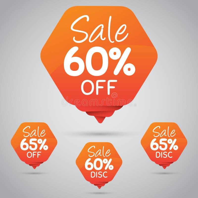 Vrolijke Oranje Markering voor Marketing Kleinhandelselementenontwerp 60% 65% Verkoop, Schijf, weg  stock illustratie
