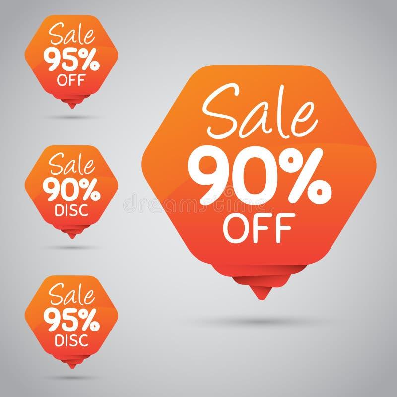 Vrolijke Oranje Markering voor Marketing Kleinhandelselementenontwerp 90% 95% Verkoop, Schijf, weg  stock illustratie