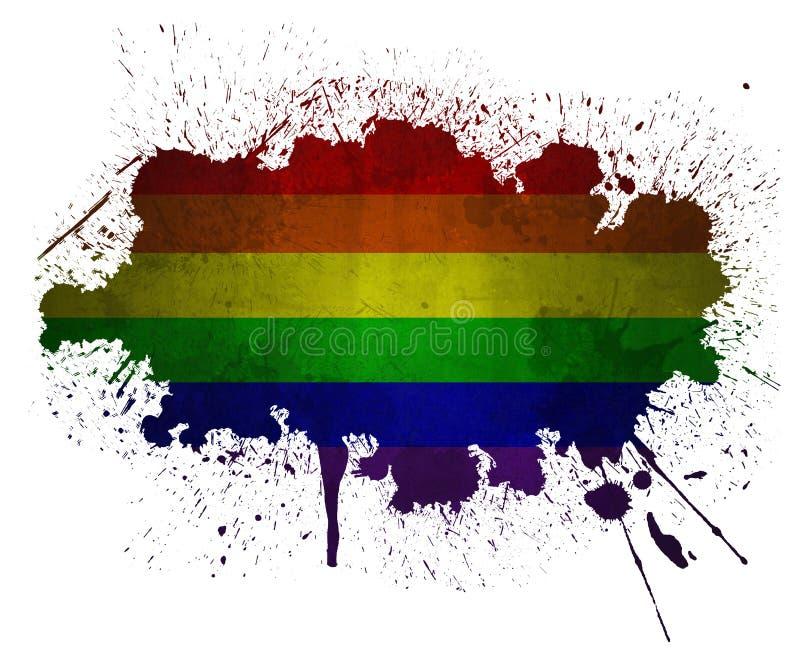 Vrolijke regenboog grunge vlag stock illustratie