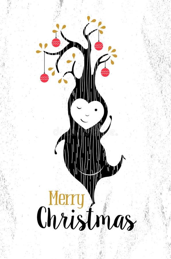 Vrolijke retro de boomkerstmis van het Kerstmis zwarte witte elf stock illustratie