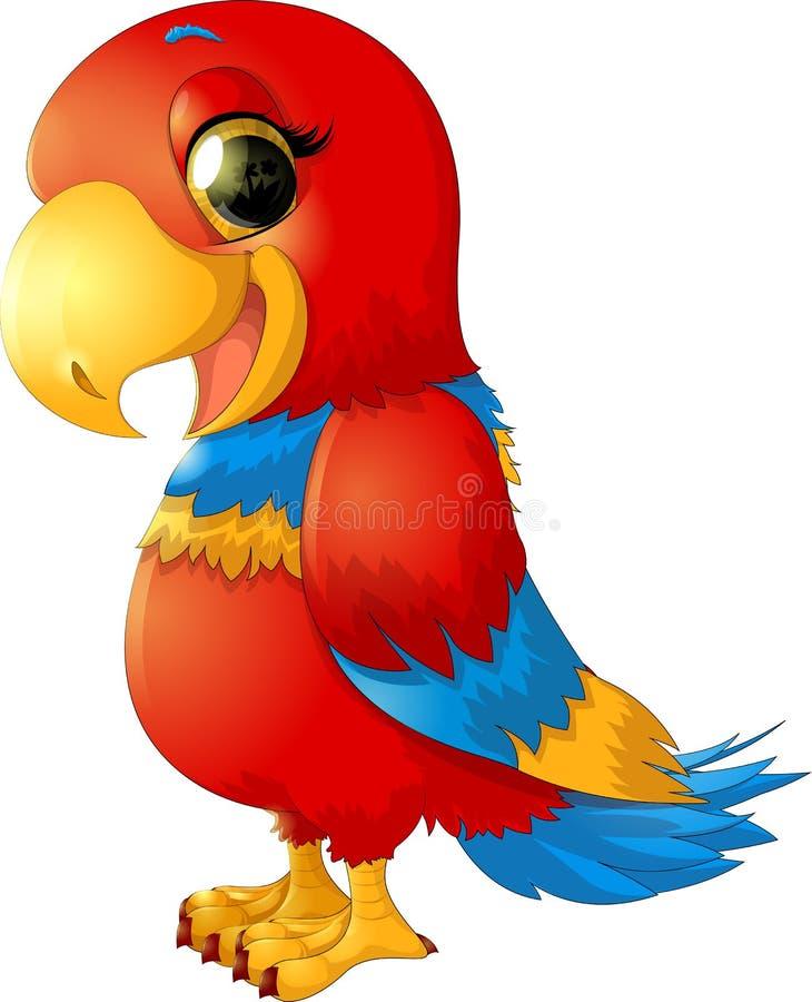 Vrolijke rode papegaai stock illustratie