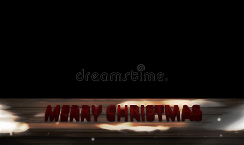 Vrolijke ruimte zwarte 3d backgorund van het Kerstmisexemplaar geeft terug vector illustratie