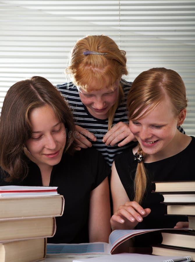 Vrolijke schoolmeisjes royalty-vrije stock afbeelding