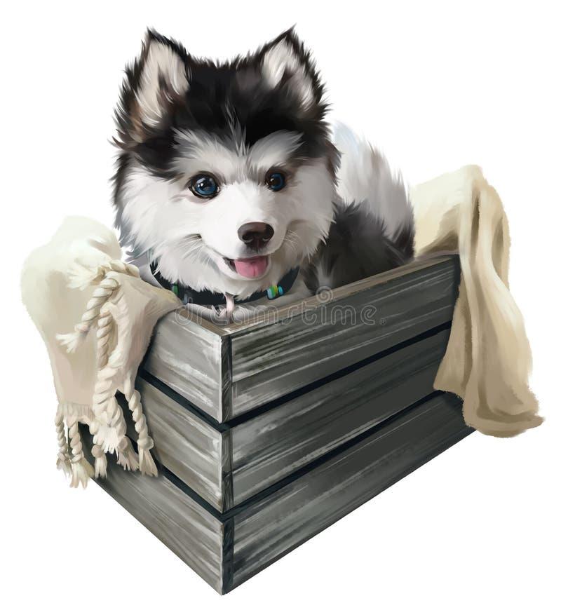 Vrolijke schor puppyzitting in een doos Het Schilderen van de waterverf vector illustratie