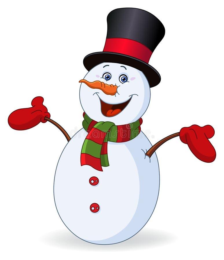 Vrolijke sneeuwman royalty-vrije illustratie