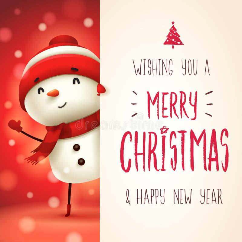 Vrolijke sneeuwman met groot uithangbord Vrolijk Kerstmiskalligrafie het van letters voorzien ontwerp royalty-vrije illustratie