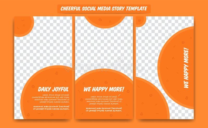 Vrolijke sociale die media verhaalontwerpsjabloon in oranje pretcirkel wordt geplaatst om blije kleur van de vorm de gelukkige to vector illustratie