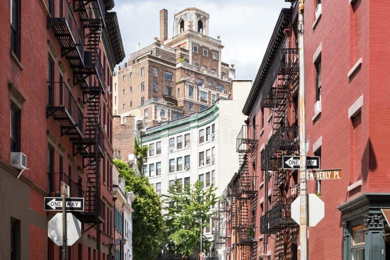 Vrolijke Straat en Waverly Place kruising in historische Greenw royalty-vrije stock afbeeldingen