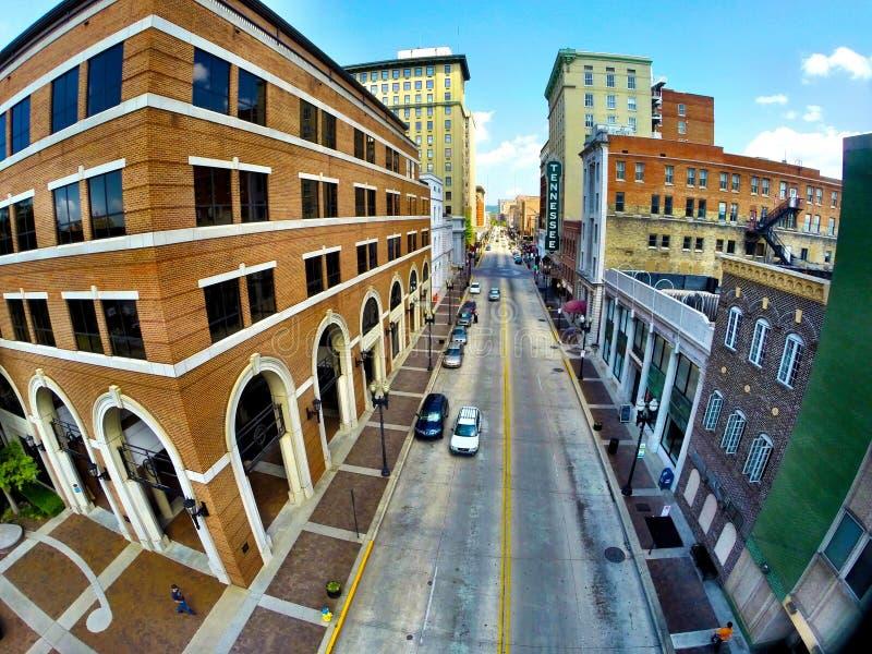 Vrolijke straat Knoxville, Tennessee royalty-vrije stock afbeeldingen