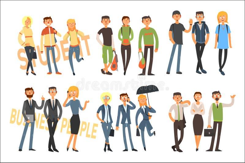 Vrolijke studenten en bedrijfsmensen Jonge meisjes en kerels in toevallige uitrusting Beambten in formele kleding vlak vector illustratie