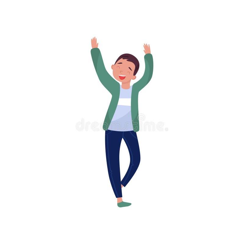 Vrolijke tienerjongen die met omhoog handen dansen Het karakter die van het beeldverhaaljonge geitje pret hebben bij partij Vlak  royalty-vrije illustratie