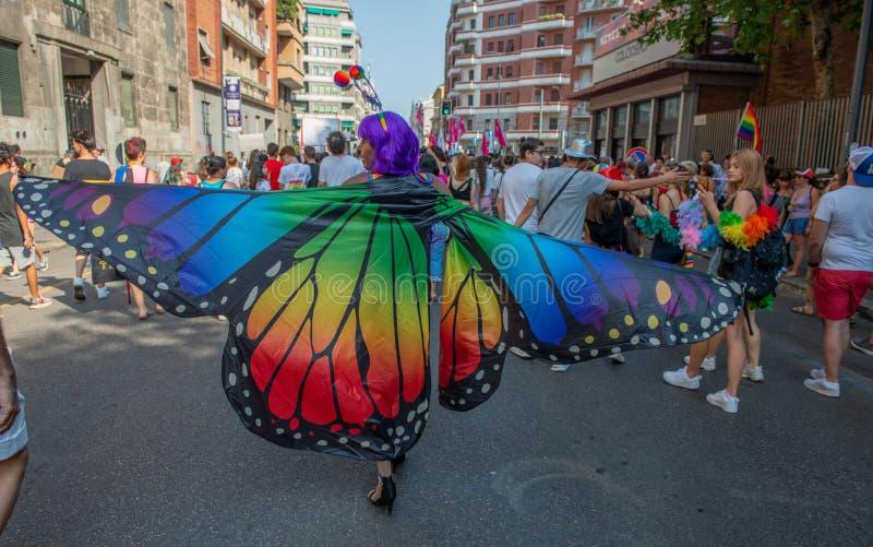 Vrolijke trotsparade in Milaan stock foto's
