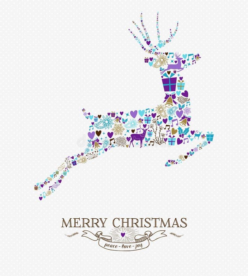 Vrolijke uitstekende retro de elementenkaart van het Kerstmisrendier royalty-vrije illustratie