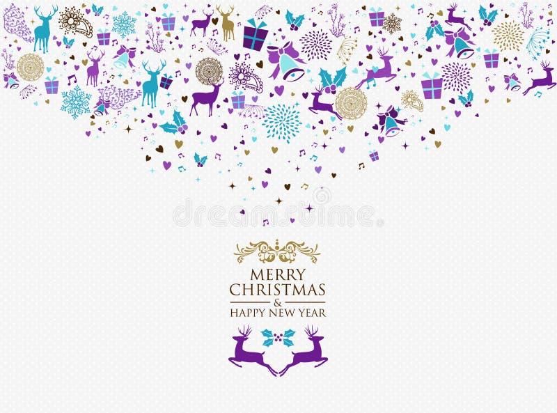 Vrolijke uitstekende retro van het Kerstmis gelukkige nieuwe jaar 2016 vector illustratie