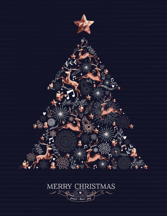 Vrolijke van de de hertendecoratie van het Kerstmiskoper de pijnboomboom royalty-vrije illustratie