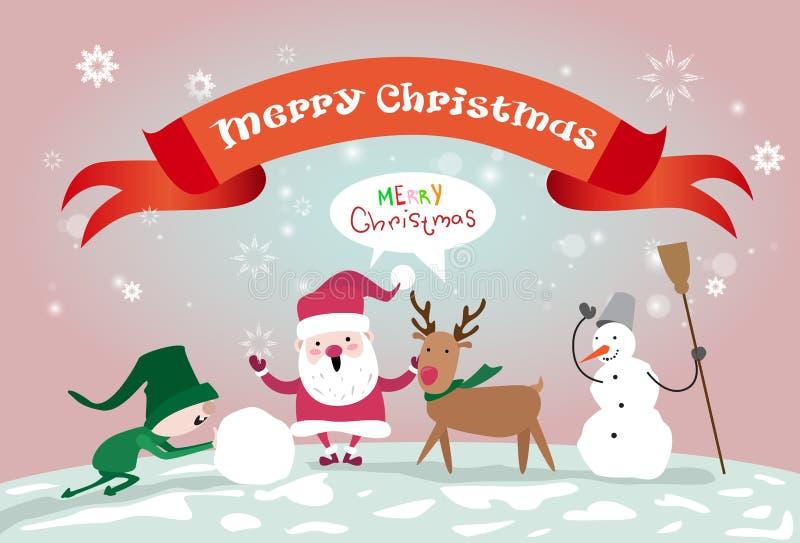 Vrolijke van het de Sneeuwman Gelukkige Nieuwjaar van Kerstmissanta clause reindeer elf making de Groetkaart vector illustratie