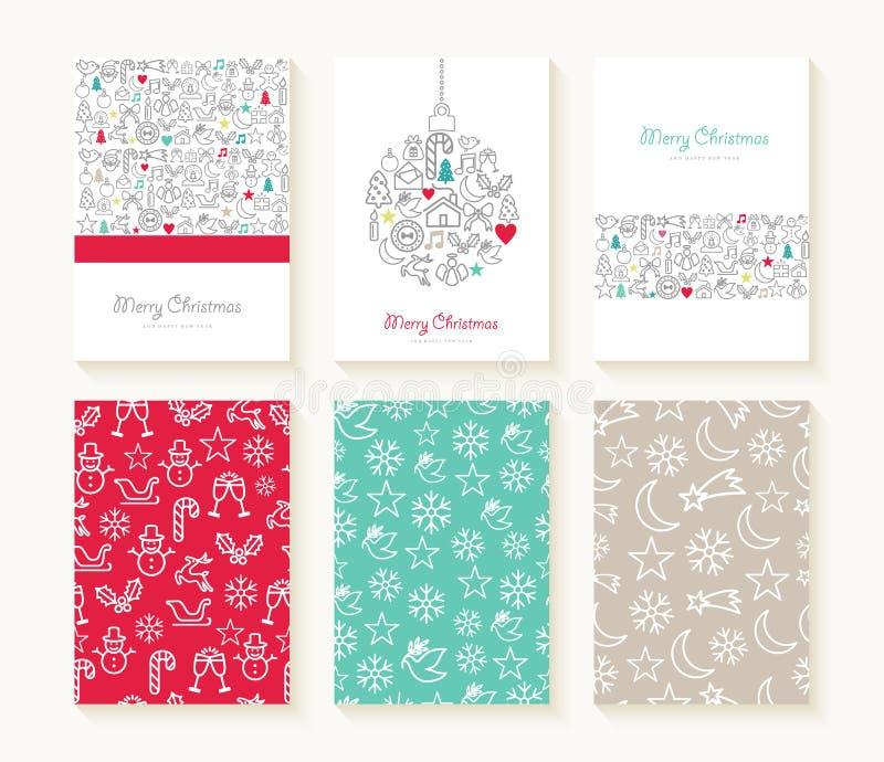 Vrolijke van het pictogrampatronen van de Kerstmislijn kaart als achtergrond royalty-vrije illustratie