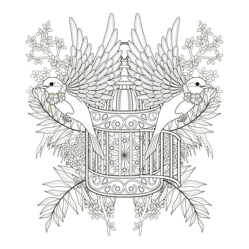 Vrolijke vogel kleurende pagina royalty-vrije illustratie