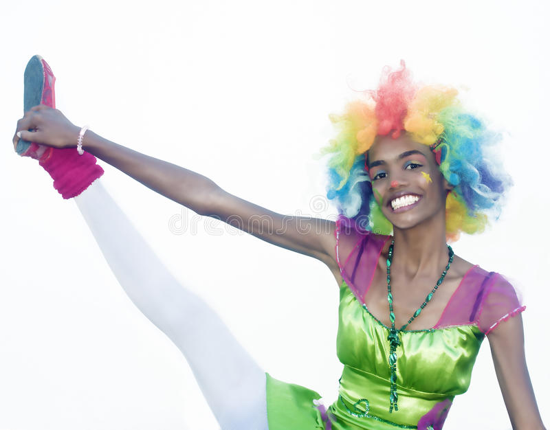 Vrolijke Vrouwelijke Clown Gymnastics royalty-vrije stock fotografie