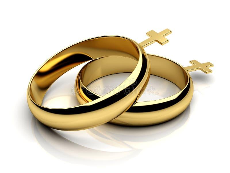 Vrolijke vrouwelijke trouwringen in 3D stock illustratie